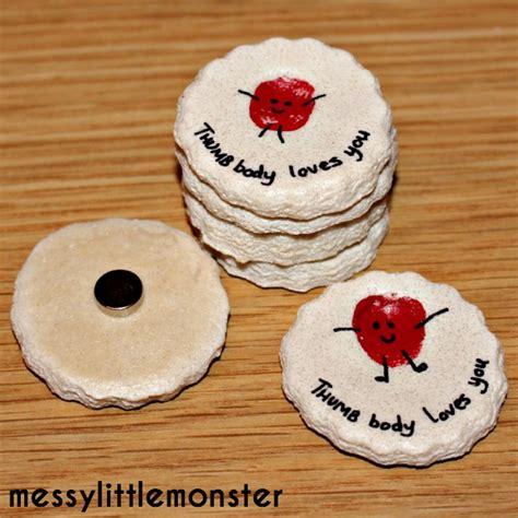 salt dough crafts thumbprint magnet