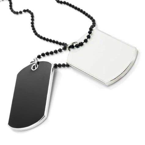 mens tag necklace save 70 army style 2pcs tag pendant mens necklace chain black and white