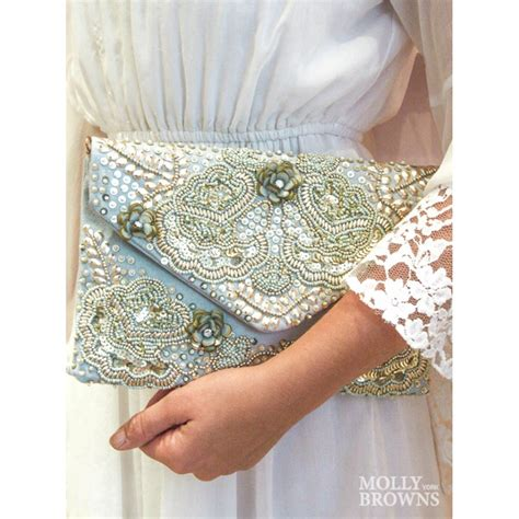 Embellished Clutch mint gold embellished clutch bag by molly browns