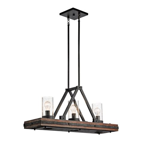 kitchen island chandelier lighting shop kichler colerne 35 75 in w 3 light auburn distressed black kitchen island light with clear