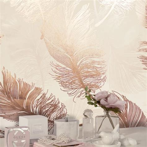 crown luxe wallpaper plume foil rose gold