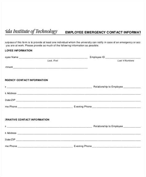 Emergency Loan Letter Format Free Emergency Contact Forms