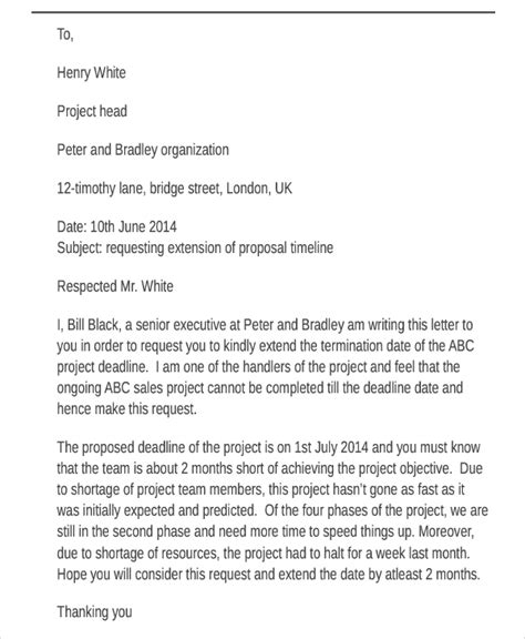 Request Letter Sle For Extension Of Deadline 45 Request Letter Template Free Premium Templates