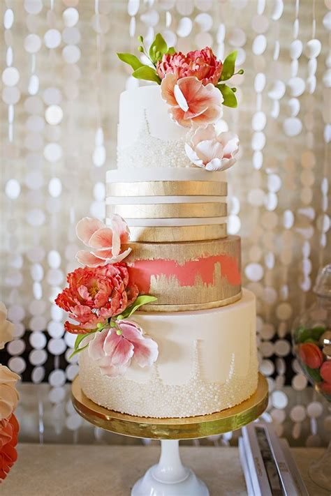 17 Best ideas about Coral Wedding Cakes on Pinterest