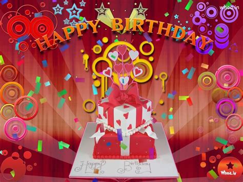 Happy Birthday Gift Red Background Wallpaper