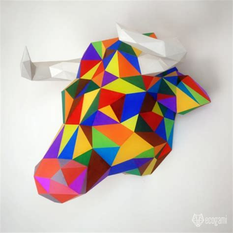 Beginner Papercraft - assemble your own low poly bull trophy with our pdf template