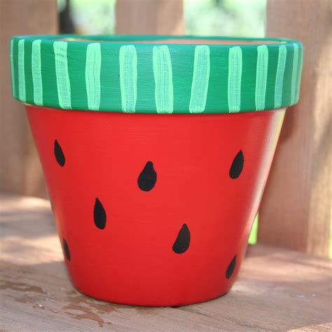 flower pots designs hand painted flower pots watermelon 6 inch hand painted