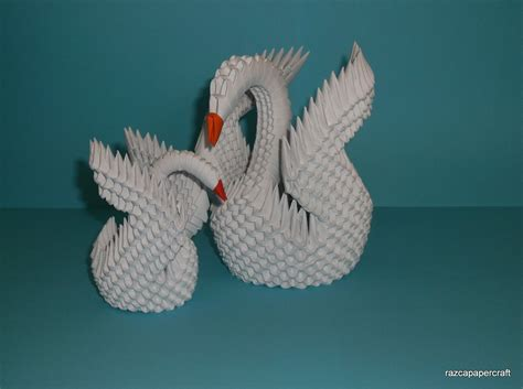 3d Swan Origami - razcapapercraft how to make 3d origami swan model3