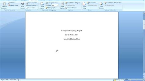 ms word 2007 create a table of contents