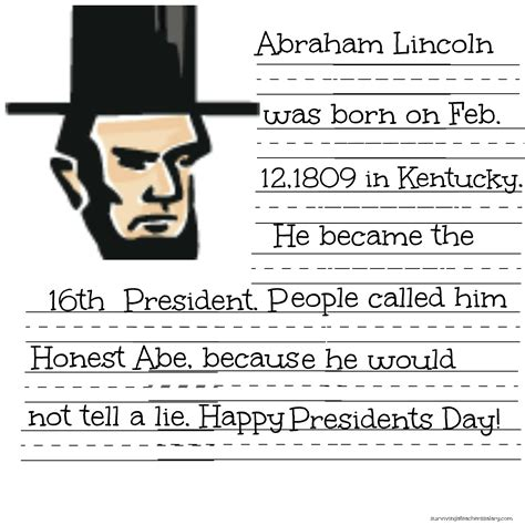 abraham lincoln biography first grade free president lincoln washington coloring sheet