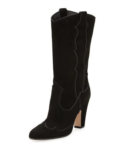 high heel western boot gianvito high heel suede western boot