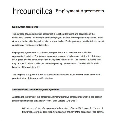 employee agreement template employee agreement templates 19 free word pdf document