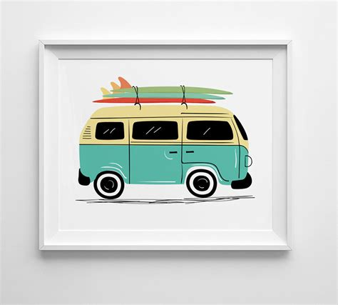 volkswagen van with surfboard clipart vw bus print vintage vw van art surf board art nursery wall