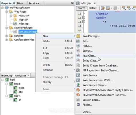 tutorial netbeans jsp jsp and netbeans create class java netbeans