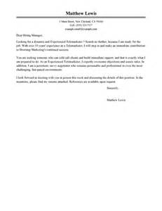 experienced telemarketer cover letter sample
