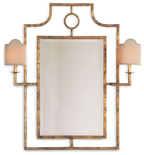 Gold Bathroom Mirrors Doheny Regency Bamboo Gold Leaf Mirror With Sconces Transitional Mirrors By