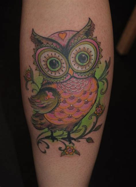 funky pink green owl tattoo i fucking love tattoos