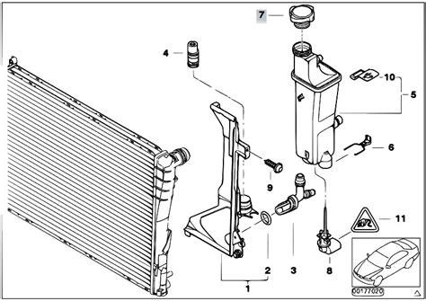 bmw e46 cooling system diagram original parts for e46 320d m47 sedan radiator