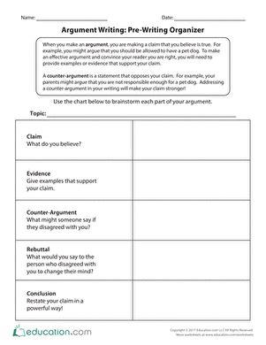 Persuasive Essay Prewriting Worksheet by Writing Worksheets Free Printables Education
