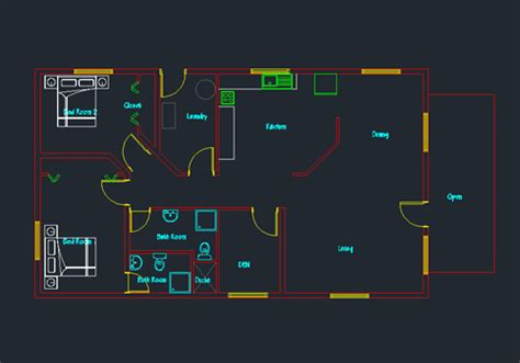 autocad blocks for house plans single story small house plan 04 dwg net cad blocks and house plans