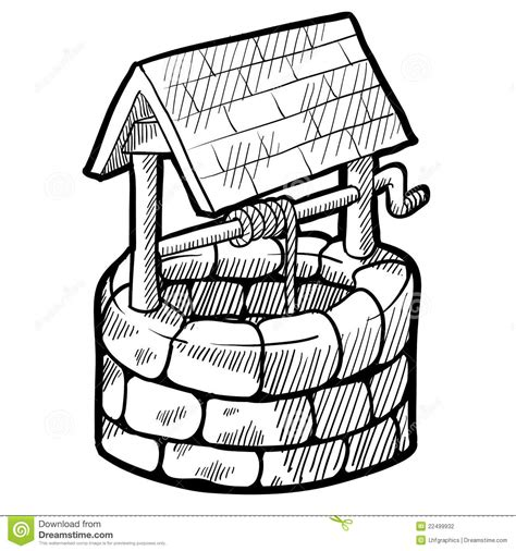coloring page water well well house sketch stock vector illustration of drawing