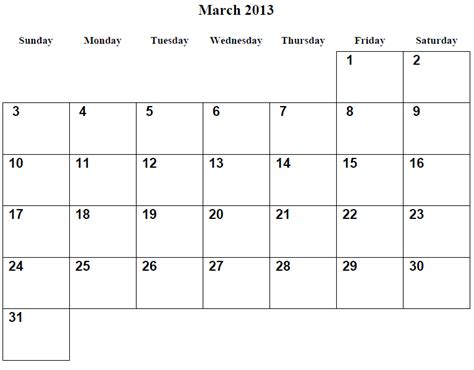 March 2013 Calendar 9 Best Images Of March Printable Calendar 2013 March