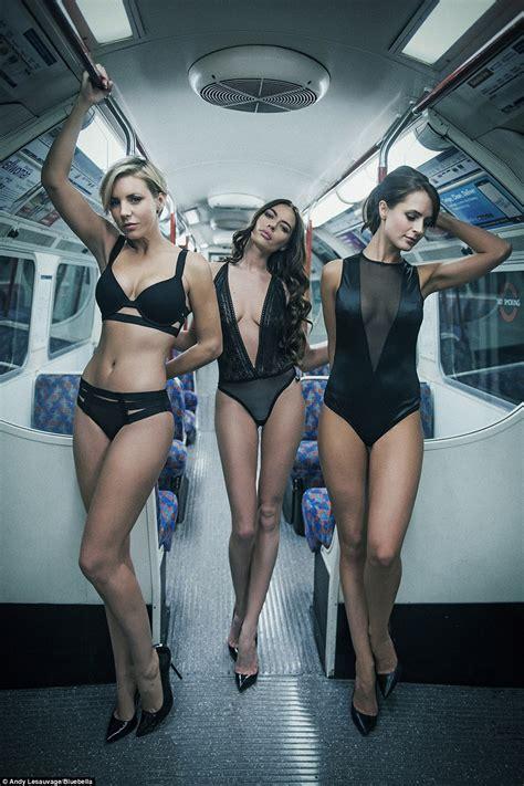 underground junior models underwear models use london underground station as runway