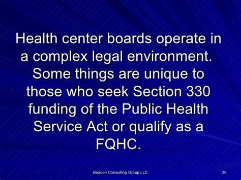 public health service act section 330 health center board member may training dave brown