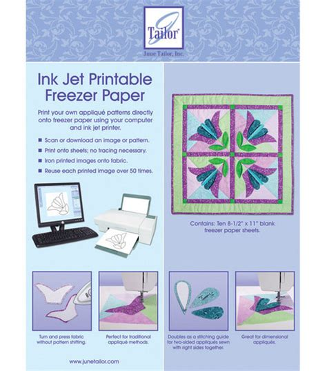 how to make printable fabric with freezer paper june tailor ink jet printable freezer paper 10 pkg jo ann