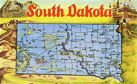 south dakota in usa map large tourist illustrated map of south dakota state