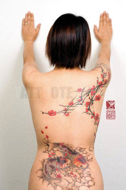 tattoos of koi fish with cherry blossoms color cherry blossoms and koi back tattoo by joey pang