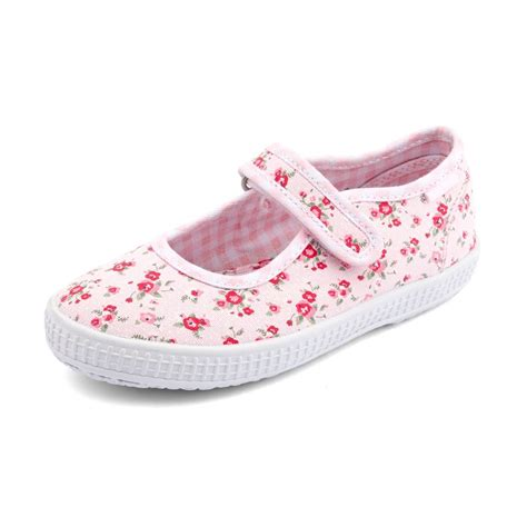 posy s pink floral canvas shoe