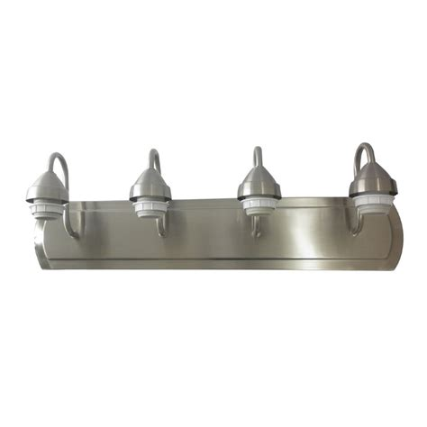 Brushed Nickel Bathroom Lighting Shop Portfolio 4 Light Brushed Nickel Bathroom Vanity Light At Lowes