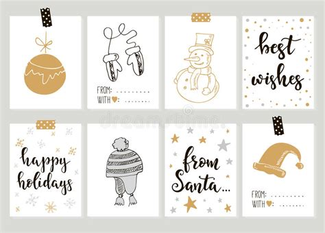 merry christmas  happy  year vintage gift tags cards  calligraphy stock vector