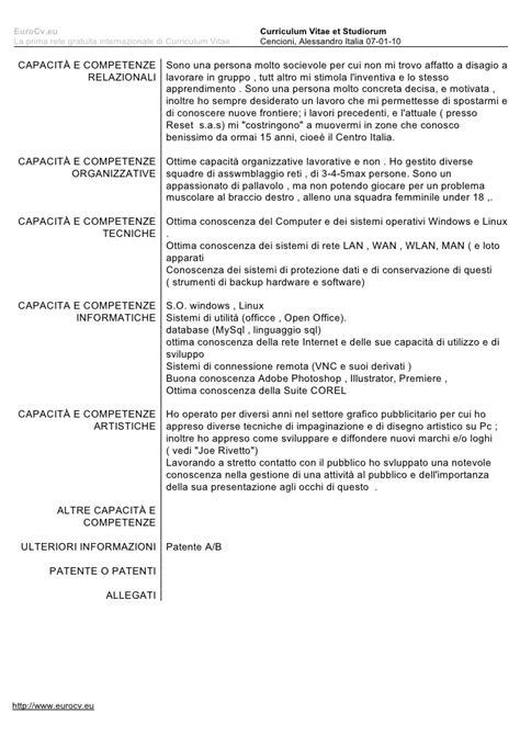 Formato Europeo Curriculum Vitae Et Studiorum alecencio