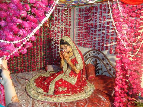 Indian Wedding Bed Decoration by Wedding Jugnu Wasim Makeup