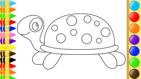 How To Draw Turtle With Hand Coloring For Kids Drawing Book Pages With Colored Markers Youtube Kid Drawing Picture
