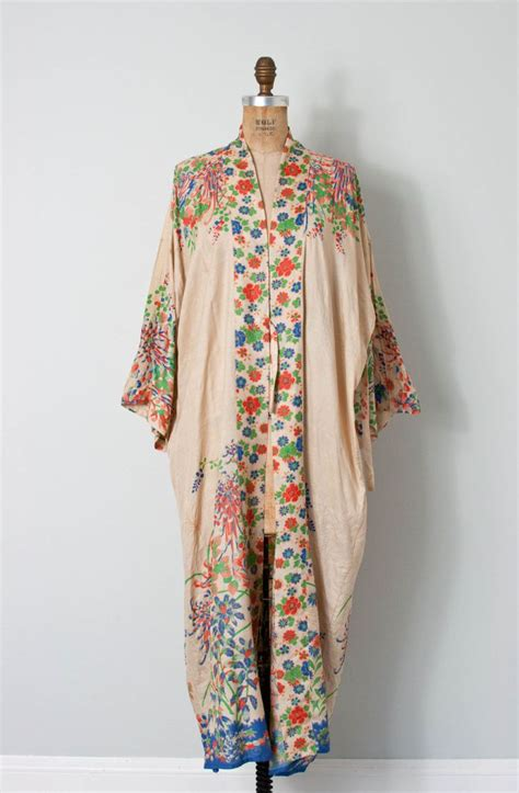 Vintage 1920s Silk Kimono Robe 20s Floral Silk Kimono