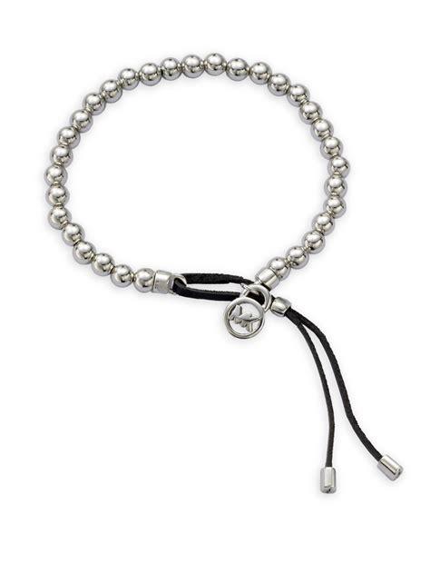 Bench Plaque Michael Kors Logo Plaque Bead Bracelet In Metallic Lyst