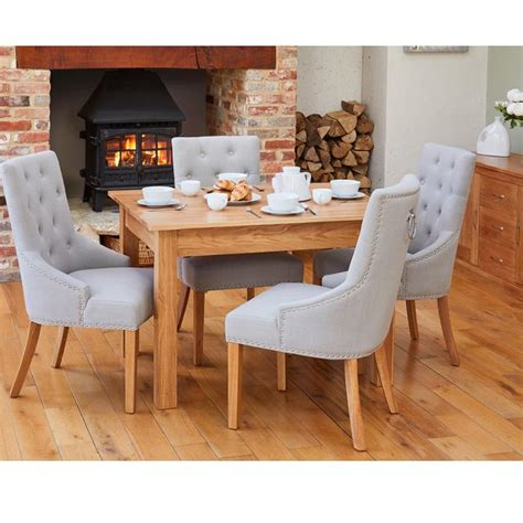 oak small dining table   grey accent narrow