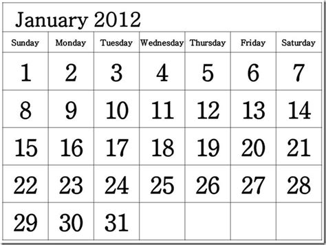 January 2012 Calendar Printable 2012 Calendar By Month Search Results