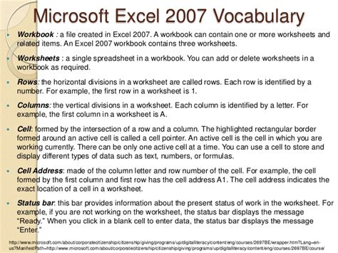 Excel Spreadsheet Vocabulary by Excel Ppt