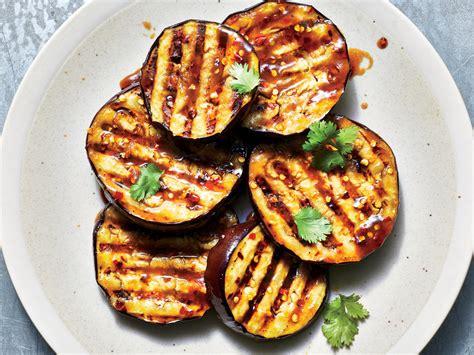 miso glazed eggplant steaks    calories  serving recipe cooking light