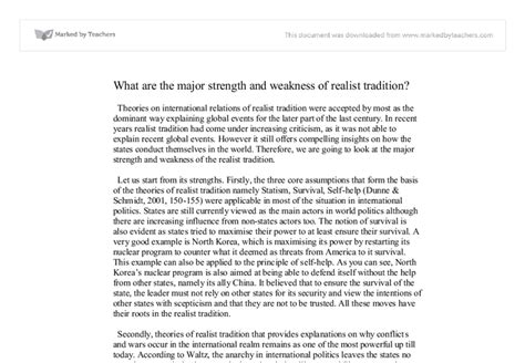 My Strengths And Weaknesses Essay by What Are The Major Strength And Weakness Of Realist Tradition Social Studies