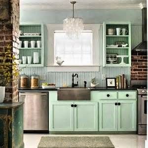 mint green cabinets open shelving kitchen dining