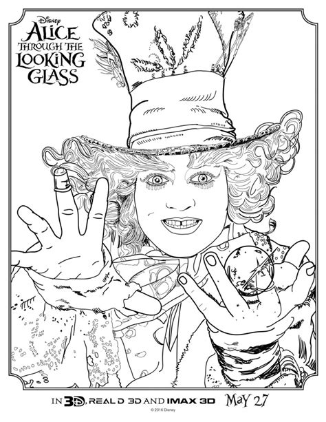 alice through the looking glass coloring sheets april