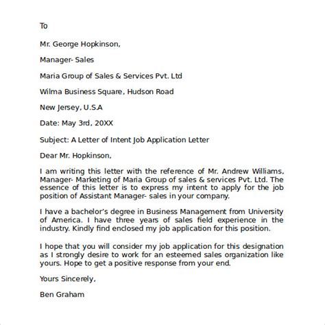 Letter Of Intent For Application Exle Application Letter For Supervisor Position Exle 28