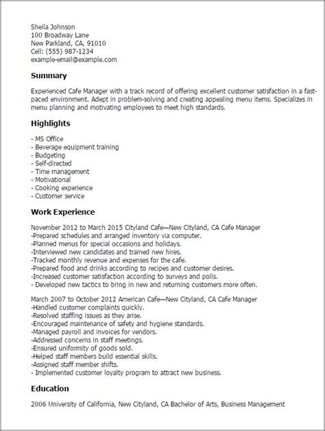 Resume Exles Cafe Professional Cafe Manager Templates To Showcase Your Talent Myperfectresume