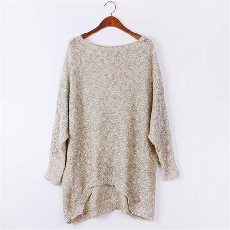 oversized knit pullover grxjy560779 contrast color irregular hem oversized knit