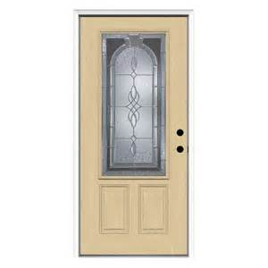 Lowes Exterior Entry Doors Shop Reliabilt Decorative Inswing Fiberglass Entry Door Common 80 In X 36 In Actual 81 75 In